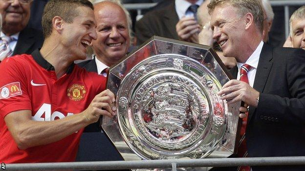 Nemanja Vidic and David Moyes