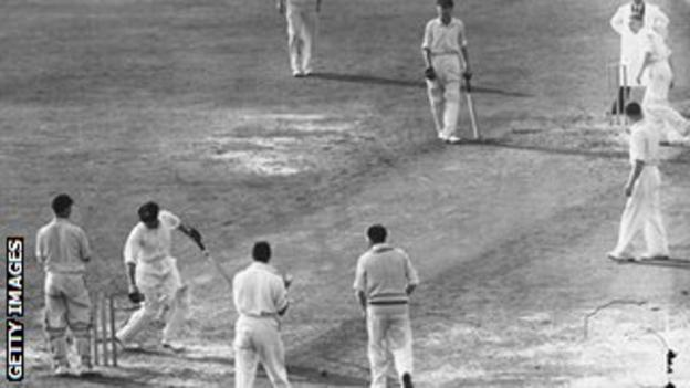 Don Bradman is bowled by Eric Hollies