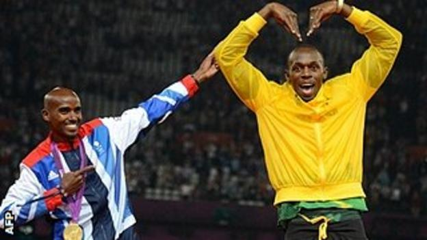 Mo Farah and Usain Bolt at ther London Olympics