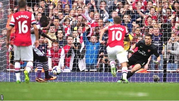 Christian Benteke puts Aston Villa 2-1 up at Arsenal