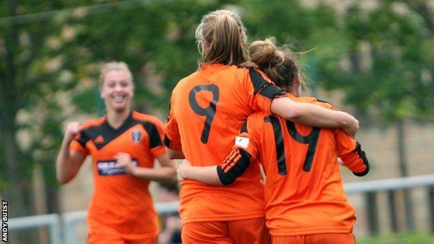 Glasgow City celebrate a goal against Spartans