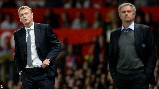 Manchester United boss David Moyes(left) and Chelsea's Jose Mourinho