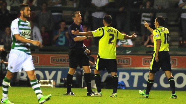 Birmingham players protest Yeovil equaliser