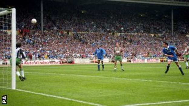 Paul Tait (right) scores the golden goal winner in the 1995 final