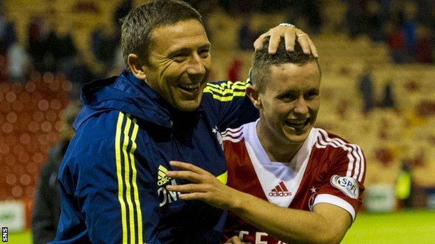 Aberdeen manager Derek McInnes and Craig Murray