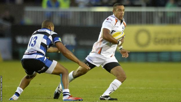 Ospreys wing Eli Walker goes on the attack during their 27-10 pre-season loss away at Bath