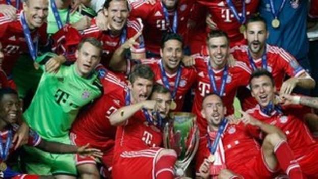Bayern players celebrate winning the Super Cup