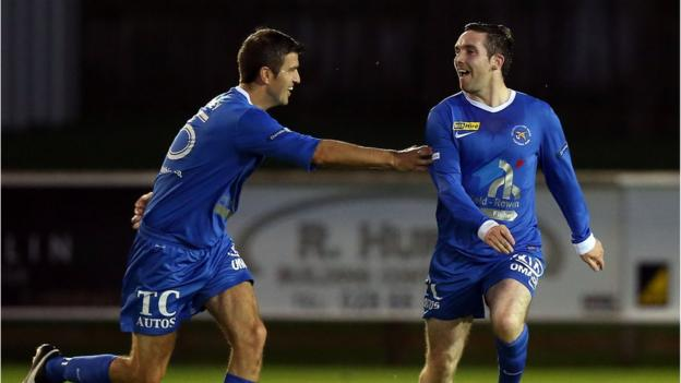 Jason McCartney celebrates after scoring the second of his two goals in Ballinamallard's 3-0 win over Warrenpoint Town