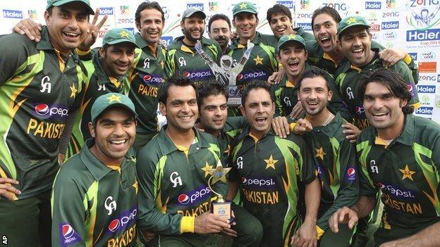 Pakistan with the one-day series trophy