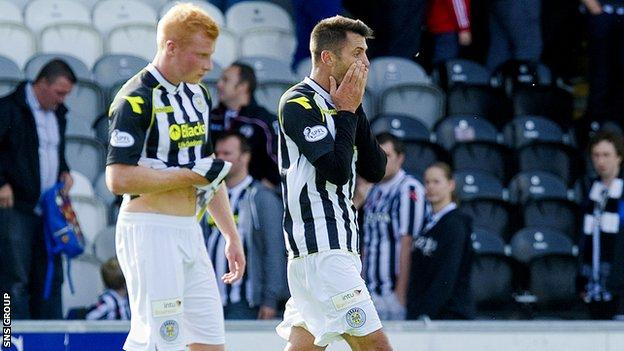 St Mirren lost 2-1 to Partick Thistle in Paisley