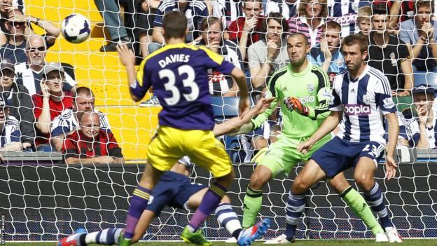 Defender Ben Davies scores Swansea's opener, beating West Bromwich Albion's Welsh goalkeeper Boaz Myhill in the Premier League