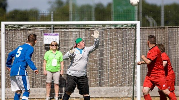 Action from the football tournament at the Special Olympics GB National Games