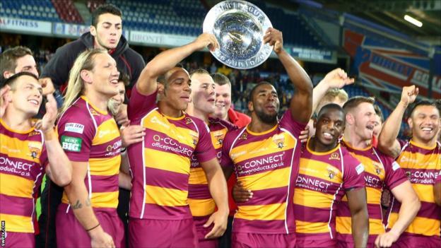 Huddersfield celebrate winning the League Leaders Shield
