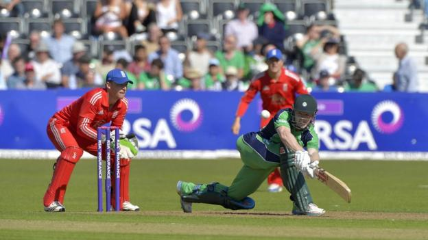 Niall O'Brien sweeps the ball away for Ireland as his side build a total of 269 for 7 off their 50 overs