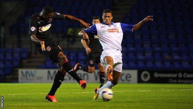 Fleetwood's Jamille Matt scores against Tranmere