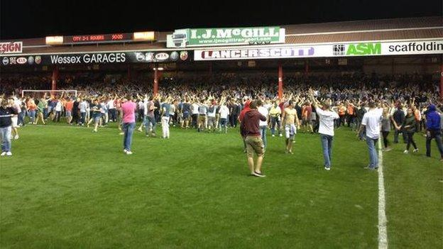 Fans on the pitch at Ashton Gate