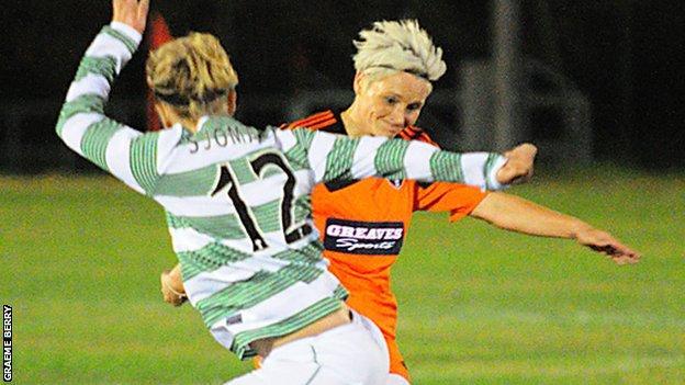 Jessica Fishlock (right) scores for Glasgow