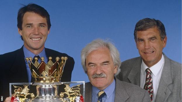Alan Hansen with Des Lynam and Sir Trevor Brooking