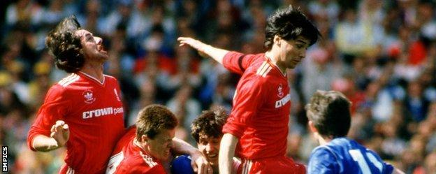 Mark Lawrenson (far left) and Alan Hansen (second right) played together for Liverpool from 1981 to 1988