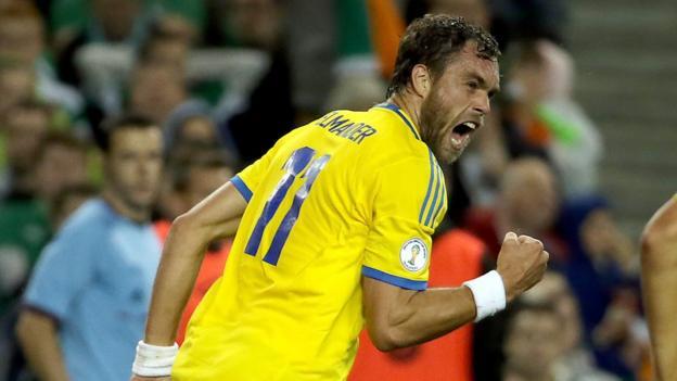 Sweden's Johan Elmander wheels away after scoring his side's equalising goal against the Republic of Ireland