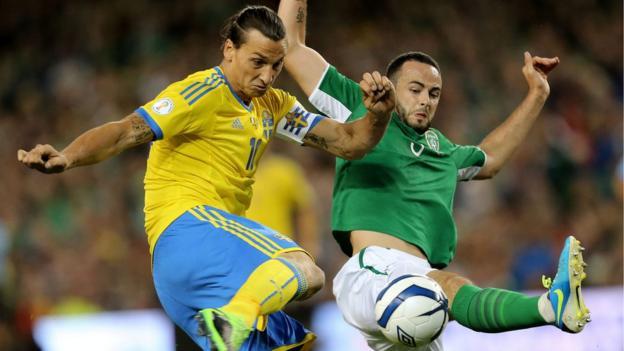 Zlatan Ibrahimovic and Marc Wilson contend for possession at the Aviva Stadium