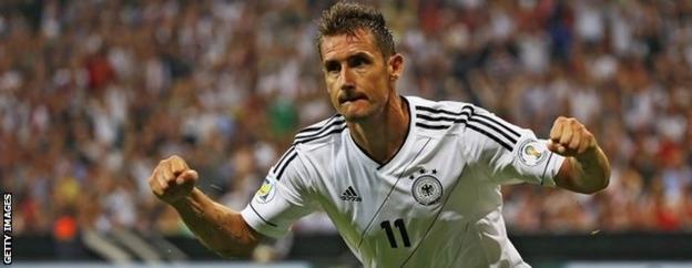 Miroslav Klose celebrates after scoring against Austria