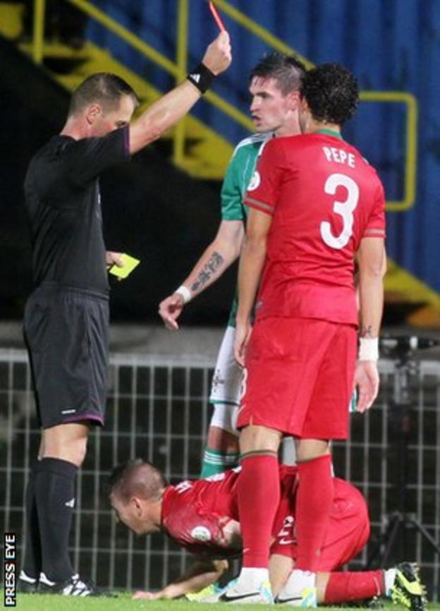 Northern Ireland's Kyle Lafferty was sent off in the match against Portugal