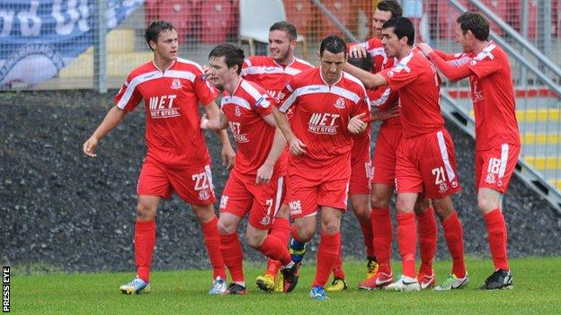 Portadown celebrate after Kevin Braniff scores in the Shamrock Parl rout