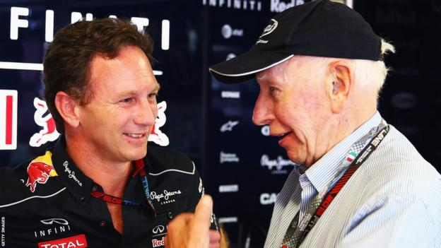 John Surtees with Red Bull Team Principal Christian Horner.
