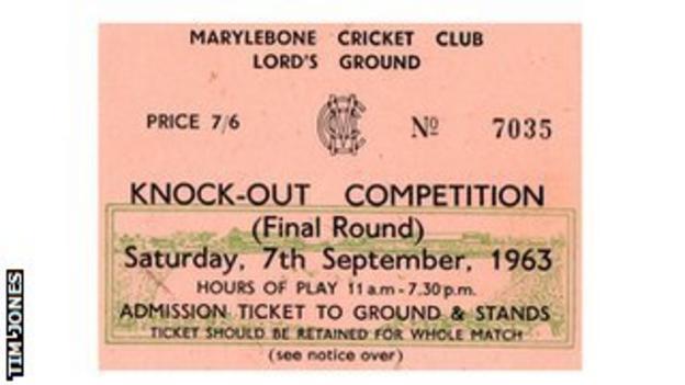 Gillette Cup final ticket, 1963