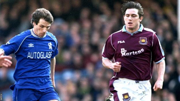 Gianfranco Zola of Chelsea and West Ham's Frank Lampard
