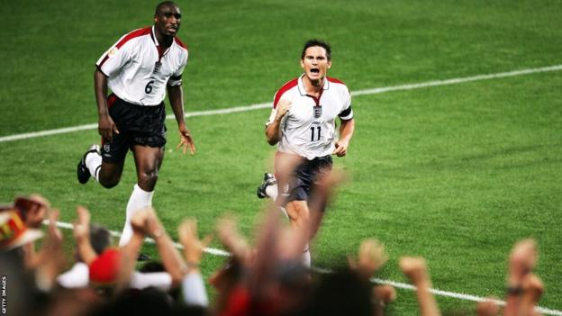 Frank Lampard celebrates scoring against Portula in Euro 2004.