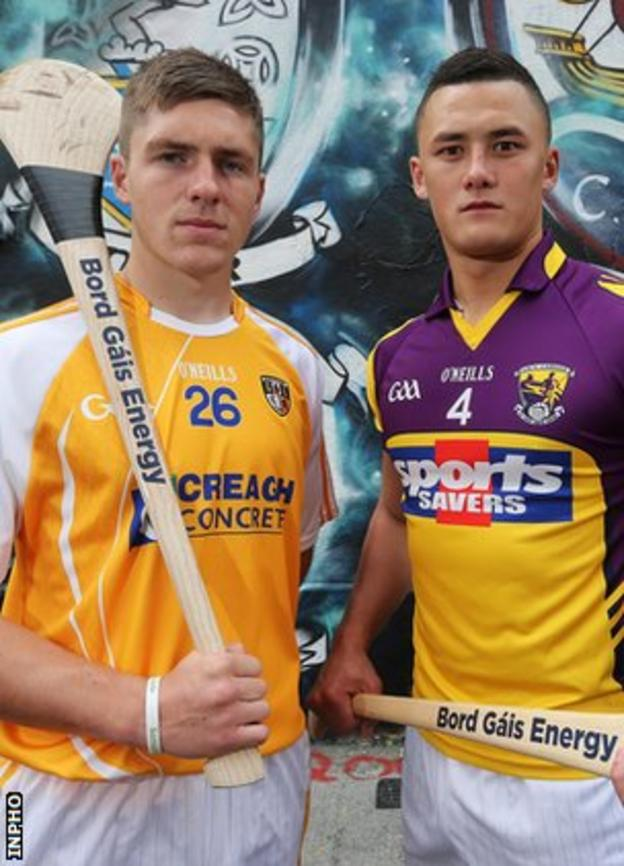 Jackson McGreevy with Wexford captain Lee Chin before the All-Ireland U21 semi-final