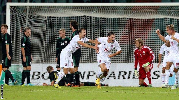 Mathias Janisch celebrates after scoring the winner