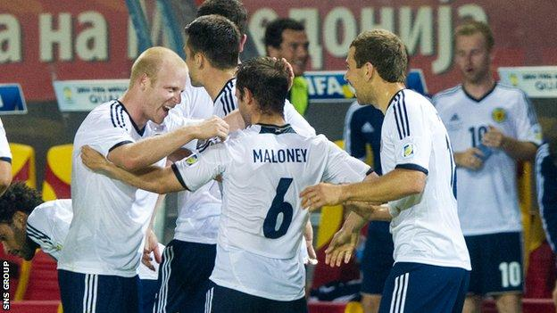 Scotland celebrate Shaun Maloney's late winner
