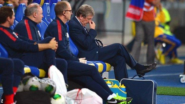 England manager Roy Hodgson endured a testing night in the Ukraine
