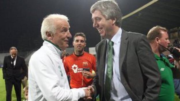 FAI chief executive John Delaney with Giovanni Trapattoni