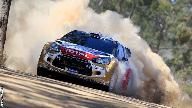 Kris Meeke in action in Australia on Thursday