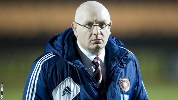 John McGlynn left Hearts in February
