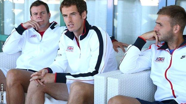 Andy Murray with Great Britain Davis Cup teammates