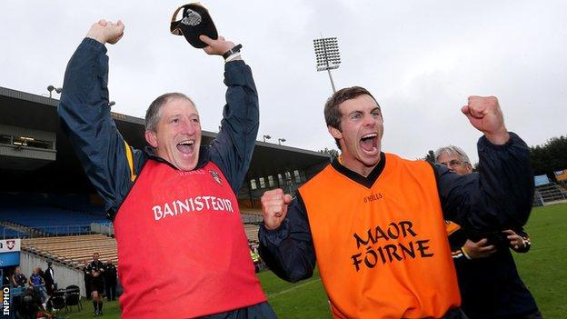 Manager Kevin Ryan and assistant boss Neil McManus celebrate after Antrim's shock semi-final win over Wexford