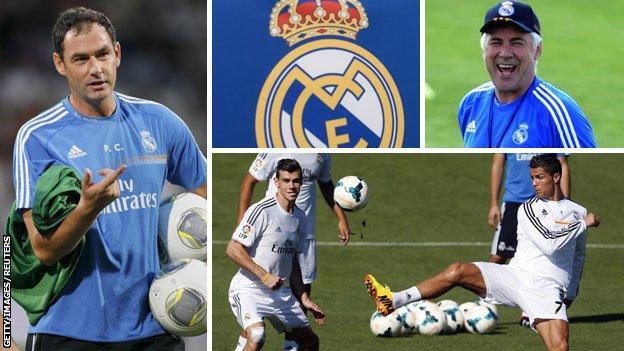 Paul Clement (left), Carlo Ancelotti and Ronaldo and Gareth Bale (bottom)