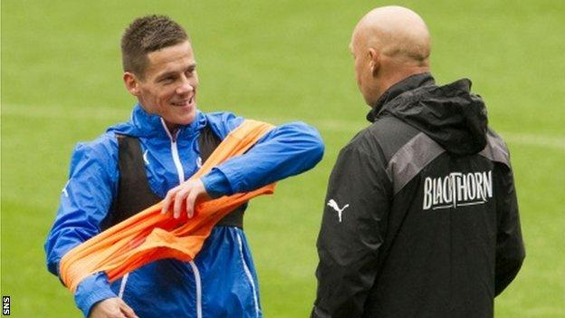 Ian Black (left) in training with Rangers