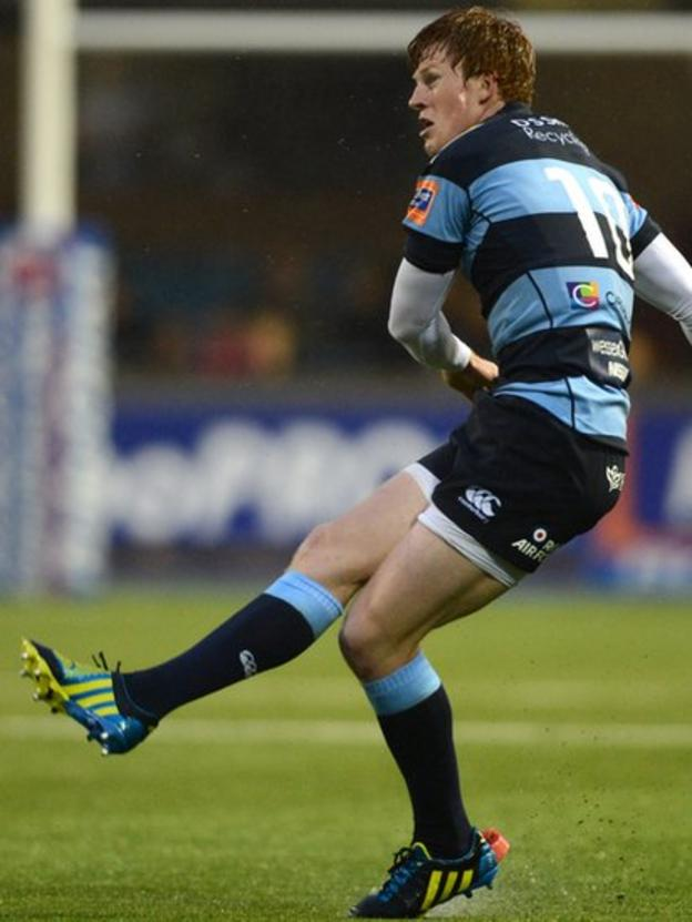 Rhys Patchell kicks for goal at the Arms Park