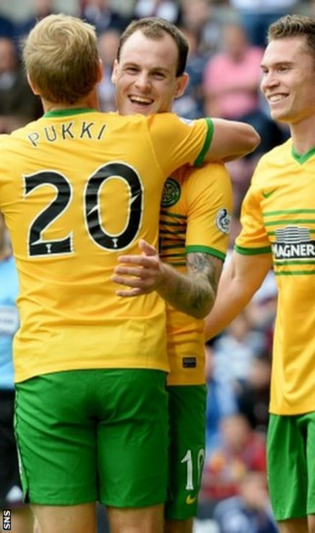 Teemu Pukki and Anthony Stokes celebrate at Tynecastle