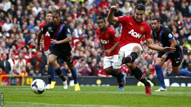 Robin van Persie scores from the spot for Manchester United against Crystal Palace