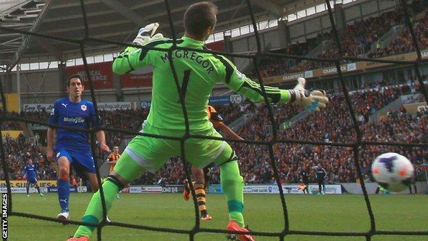 Peer Whittingham scores for Cardiff City against Hull