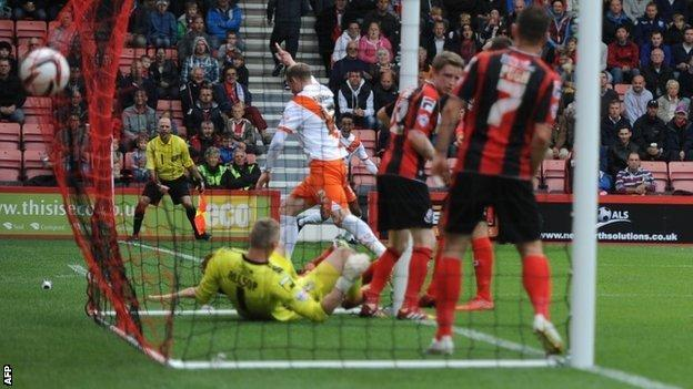 Neil Bishop puts Blackpool 2-1 up at Bournemouth