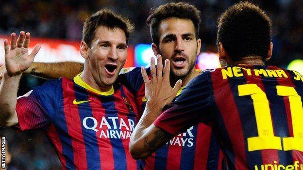 Messi; Fabregas; Neymar