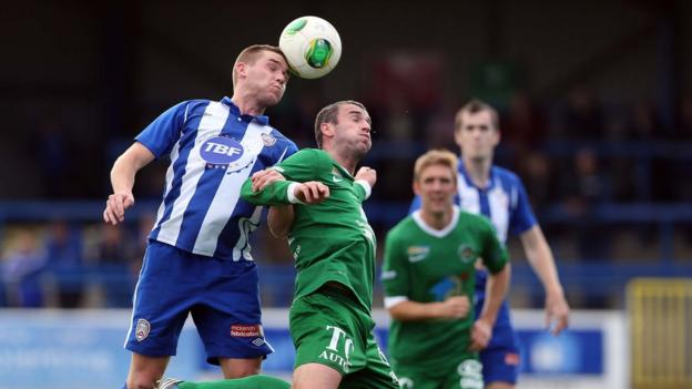 Stephen Lowry and Ryan Campbell in action as Coleraine go down 2-1 to Ballinamallard United